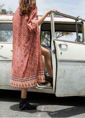 Fashion Chiffon Allover Print Front Open Women's Loose Long Thin Kimono_1