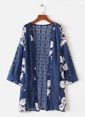 Cardigan en mousseline de soie d'été imprimé floral évider Kimono féminin_3