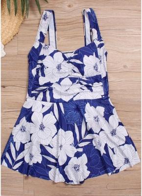 Women Plus Size Swimsuit Floral Print High Waist One Piece Sexy Bikini Swimwear_3