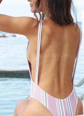 Striped Printed Backless One Piece Swimwear_3