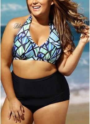 Plus Size Geometric Print Halter Backless High Waist Wireless Padding Sexy Bikini Set_4