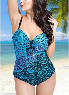 Women Large Size One Piece Swimwear Push Up Padding Wireless Swimsuit_2