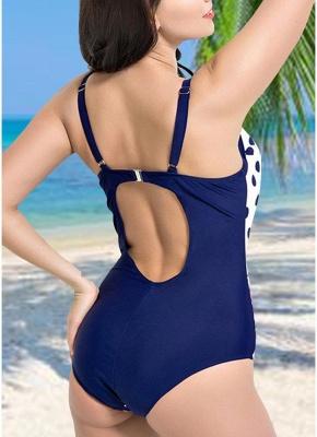 Women Plus Size Floral Dot Swimsuit Cut Out Backless Plunge Strap Monokini_4