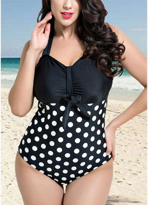 Women Plus Size Halter Swimsuit Dot Print Push Up Swimwear Bathing Suits_2