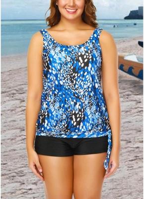 Women Plus Size Push Up Tankini Swimsuit Padded Swimwear Printed Bathing Suit_2