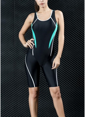 Women Professional Sports One Piece Swimsuit Swimwear Racing Competition Full Brief Knee Bathing Suit_1