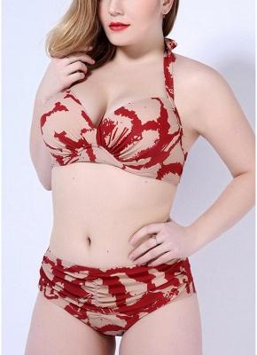 Print Sexy Bikini Set Push Up Halter Back Tie Backless Mid Waist_4