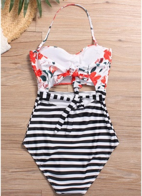Floral Striped Halter One Piece Swimsuit_4