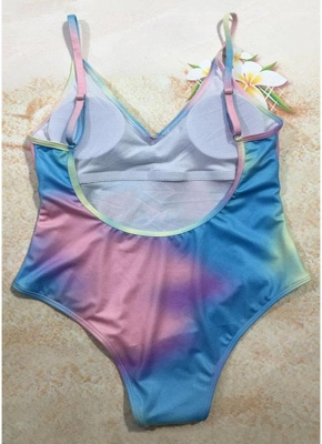 Women Colorful Bull Tie Dye Plunge V Padded Push Up One Piece Swimsuit_3