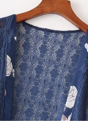 Cardigan en mousseline de soie d'été imprimé floral évider Kimono féminin_5