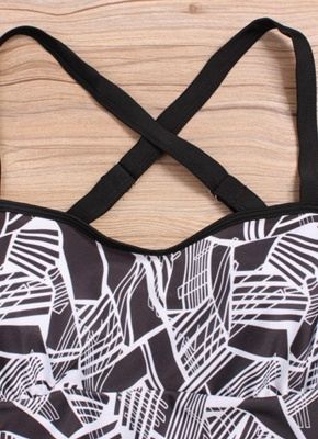 Women Plus Size Tankini Set Geometric Print Shoulder Strap Beachwear Swimwear Swimsuit_6
