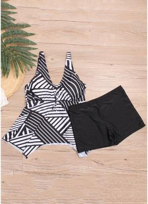 Women Plus Size Striped Tankini Set Padding Shoulder Strap Beachwear Swimwear Swimsuit_4