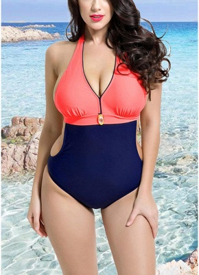 Backless Contrast Color Swimwear Bandage Bathing Suit_1