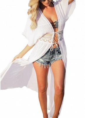 Women Beach Cover Up Lace Bandage Maxi Cardigan Tunic Sexy Bikini Swimsuit_1