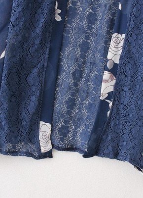 Cardigan en mousseline de soie d'été imprimé floral évider Kimono féminin_7