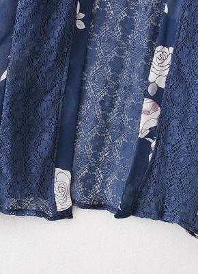 Summer Chiffon Cardigan Floral Print Hollow Out Women's Kimono_7
