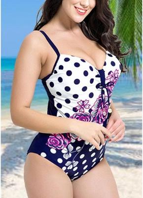 Women Plus Size Floral Dot Swimsuit Cut Out Backless Plunge Strap Monokini_5