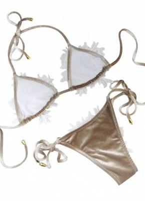 Women Velvet Swimsuit Halter Crochet Lace Tie Wireless Swimwear Bikini Beach Wear_4