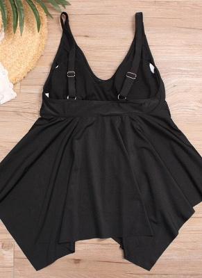 Plus Size Swimsuit Tankini Set Push Up Padded Solid Swimwear_4