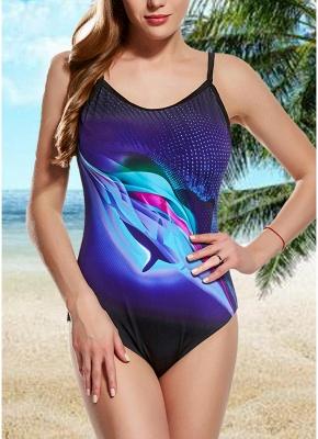 Women One Piece Swimsuit Contrast Color Dot Print Padded Swimwear Bathing Suit_2