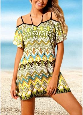 Women Beach Dresses Cover Ups Geometry Print Halter Tie Mini Sexy Bikini Beachwear_2