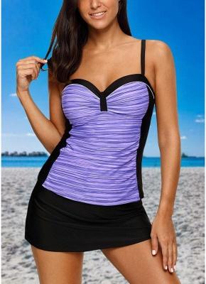 Women Bikini Set Swimsuit Push Up Swimwear Contrast Beach Wear Bathing Suit Plus Size Tankini Skirt Set_2
