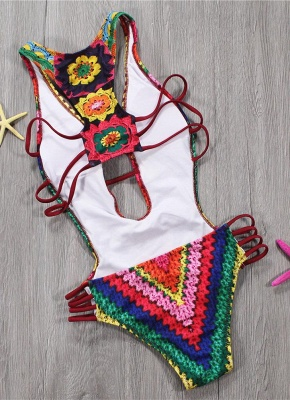 Women One Piece Swimsuit Plunge V Padded Colorful Crochet Patterns Rainbow Print Bandage Cut Out Backless  Monokini_4