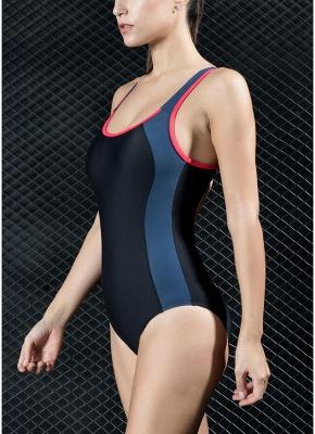 Women One Piece Swimsuit Panel Splicing Racing Sports Swimwear Racer Back Monokini_5