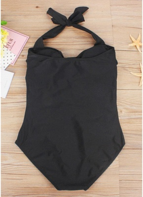 Plus Size Halter Ruched Backless Wireless Padded Swimsuit One Piece_5