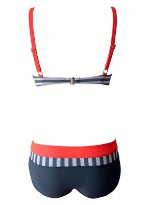 Women Bikini Set Swimwear Swimsuit Stripe Dot Print Contrast Push Up Underwire Padded Two Piece Bathing Suit_8