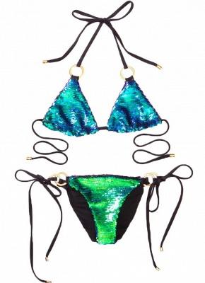 Sequin Halter O-Ring Tie Bandage Swimwear Brazilian Bikini Set_3