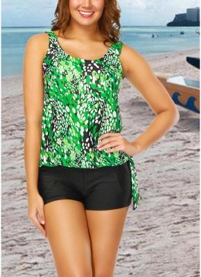 Women Plus Size Push Up Tankini Swimsuit Padded Swimwear Printed Bathing Suit_4