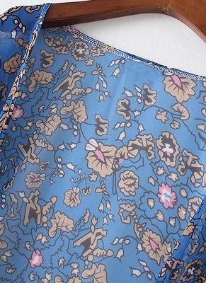 Vintage Chiffon Floral Leaf Print Women's Loose Kimono_4