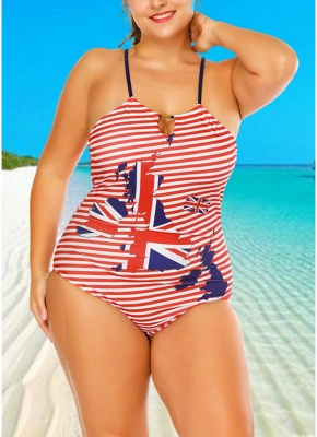 Plus Size Striped Flag Halter Hollow Out One Piece Swimsuit_3