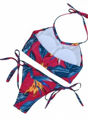 Floral Print Halter Wireless Padded Two Piece Sexy Bikini Set Swimwear_3