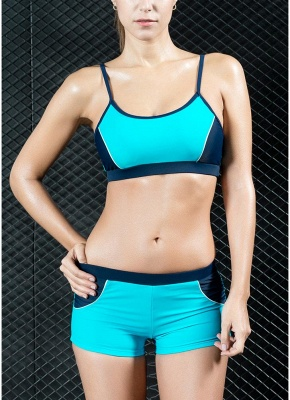 Sports Splicing Professional Racing Two Piece Swimsuit_2