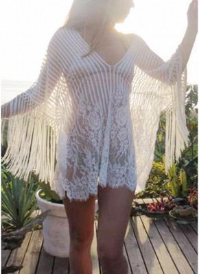 white one size Sheer Lace Tassel Kaftan Beach Cover Up_3
