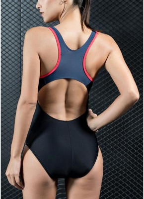 Women One Piece Swimsuit Panel Splicing Racing Sports Swimwear Racer Back Monokini_4