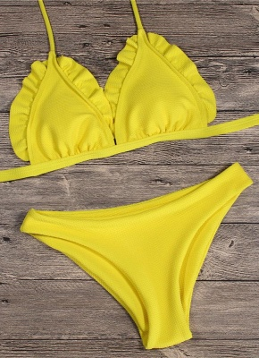 Women Bikini Set Push Up Swimwear Swimsuit Ruffle Low Waisted Padded Two Piece Bathing Suit Beach Wear_4