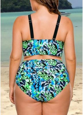 Women Plus Size Floral High Waist Sexy Bikini Set Cut Out Underwire Swimsuit_4