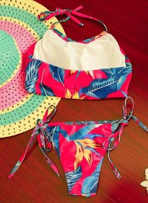 Floral Print Halter Wireless Padded Two Piece Sexy Bikini Set Swimwear_5