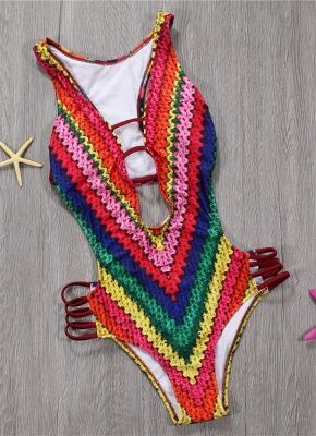 Women One Piece Swimsuit Plunge V Padded Colorful Crochet Patterns Rainbow Print Bandage Cut Out Backless  Monokini_3