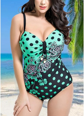 Women Plus Size Floral Dot Swimsuit Cut Out Backless Plunge Strap Monokini_2