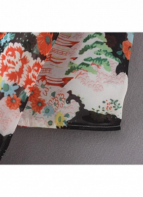 Bikini Cardigan en mousseline de soie d'été couvrez-vous imprimé Kimono Boho Long femmes_8