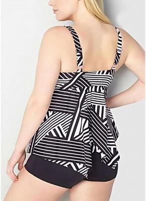 Women Plus Size Striped Tankini Set Padding Shoulder Strap Beachwear Swimwear Swimsuit_3