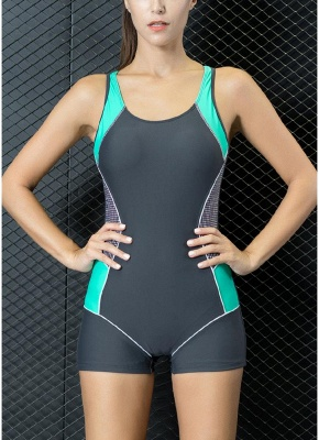Women One Piece Swimwear Color Splice Cut Out Padding Bathing Suit Swimsuits_3