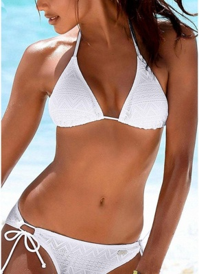 Halter Bandage Wireless Sexy Women Bikini Set_1