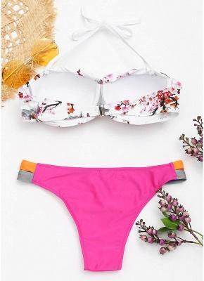 Color Block Backless Push Up Padded Underwire Bandage Sexy Bikini Set_5