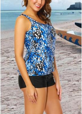 Women Plus Size Push Up Tankini Swimsuit Padded Swimwear Printed Bathing Suit_7