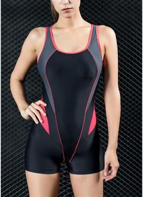 Women Sports One Piece Swimsuit Swimwear Shorts Splice Racing Training Bathing Suit_1
